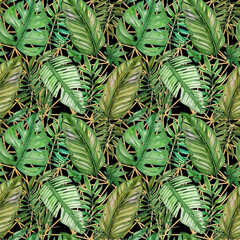 Panel Szklany Liście Hand painted watercolor tropical leaves and gold mosaic seamless pattern on dark background. Ilustration for wedding invitations, greeting cards, postcards, children's books, textile, wallpapers.