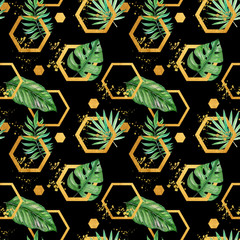 Naklejka Liście Green tropical palm & monstera leaves with gold geometric shapes on black background. Watercolor hand painted seamless pattern. Tropical illustration. Jungle foliage.