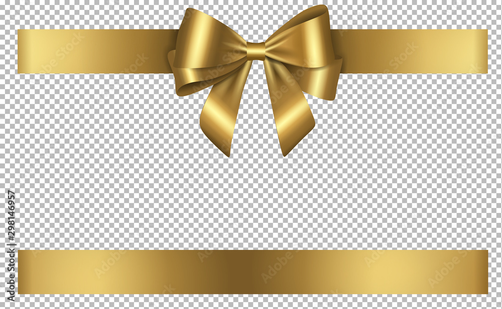 Fototapeta golden bow and ribbon for birthday and christmas decorations