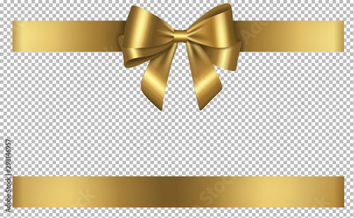 Fototapeta golden bow and ribbon for birthday and christmas decorations obraz