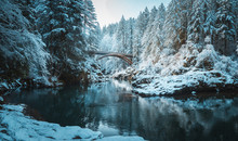 Scenic View Of Moulton Falls Bridge In Winter, Washington
