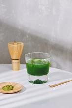 Green Tea Ice Latte With Matcha Donut.