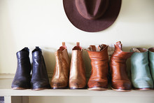 Boots And Hats Arranged On A S...