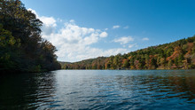 Lake In The Ozarks, Autumn Trees And Still Waters