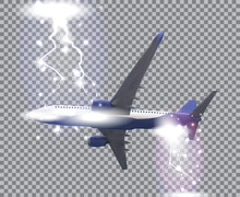 Naturalistic Airliner Flies On A Transparent Background. Side View From Below. Vector Illustration