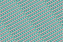 Blue And Pink Drinking Straw Pattern On Pastel Green