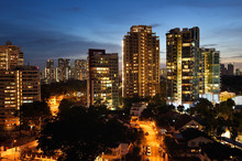 Singapore Residential District At Sunset