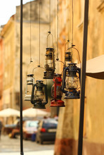 Vintage Oil Lamps Hanging Outd...