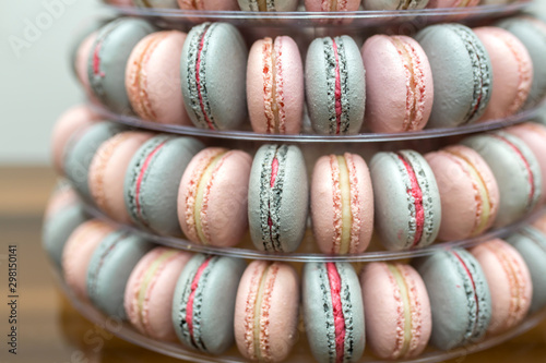 Foto auf Leinwand Macarons Pyramid of colorful macaroons. Sweets on the holiday. Edible decoration