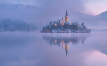 Church Reflecting In Lake Bled...