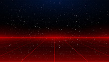 Newretrowave Sci-fi Red Laser Perspective Grid Background In Starry Space. Retrofuturistic Cyber Laser Landscape.