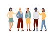Happy young women are standing together. A group of 5 girls, a female team, friendship, a union of feminists, sisterhood, multi-ethnic. Flat cartoon vector illustration isolated on white background.