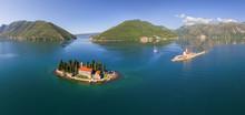 Aerial View Of Sveti Juraj On Saint George Island, Kotor Bay, Montenegro