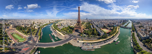 Panoramic aerial view of the Eiffel Tower, Paris, France - 298153503