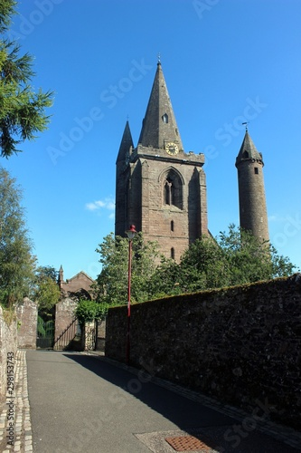 Looking east along Chanonry Wynd towards Brechin Cathedral and round tower, Scotland Wallpaper Mural