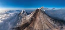 Aerial View Of Volcano Klyuchevskaya Sopka, Kamchatka, Russia