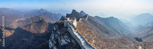 Aerial view of the Great Wall of China crossing mountain chain.