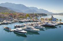 Aerial View Of Boats Anchored At Kotor Bay, Montenegro