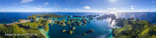 Panoramic aerial view of Wajag Island at Raja Ampat, Indonesia
