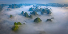 Aerial View Of Guilin Mountains During Foggy Day, China