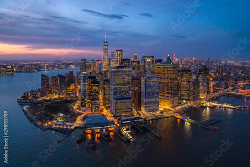 Foto Murales Aerial view of Manhattan during the night, New York, USA