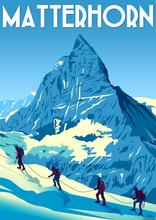 A Group Of Climbers Climb The ...