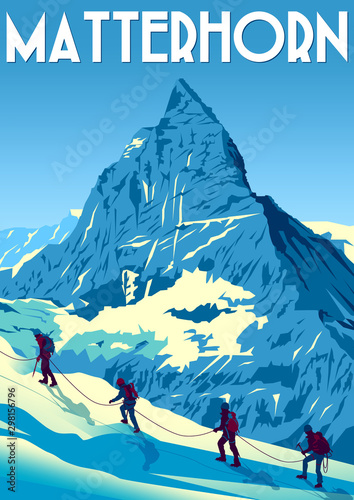 Photo A group of climbers climb the Matterhorn peak in Switzerland.