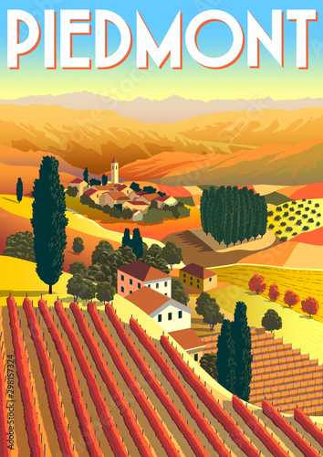 Romantic rural landscape in sunny day in Italy with vineyards, farms, meadows, fields and trees in the background Wallpaper Mural