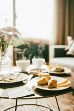 Fresh Breakfast Served On Table In Hotel Room