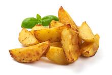 Baked Potato Wedges. Fast Food, Isolated On White Background