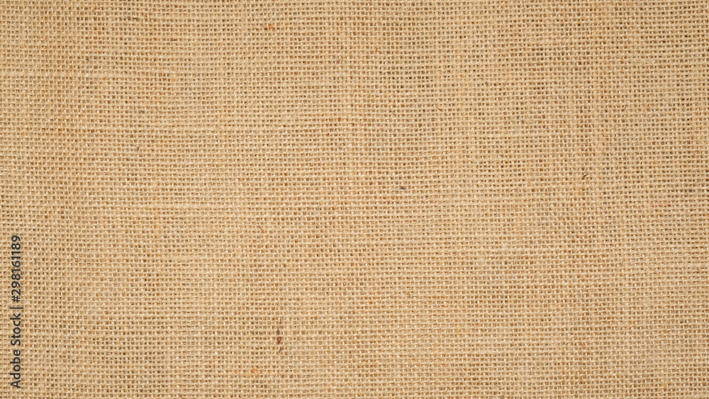 Fototapety, obrazy: Hessian sackcloth burlap woven texture background  / cotton woven fabric background with flecks of varying colors of beige and brown. with copy space. office desk concept.
