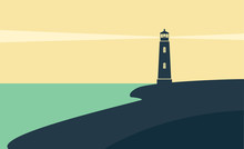 Lighthouse. Seascape. Vector F...