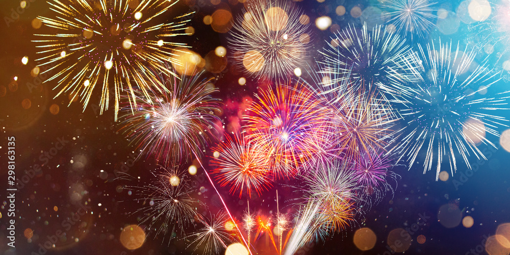 Fototapeta Colorful firework with bokeh background. New Year celebration, Abstract holiday background