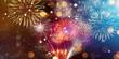 Leinwanddruck Bild - Colorful firework with bokeh background. New Year celebration, Abstract holiday background