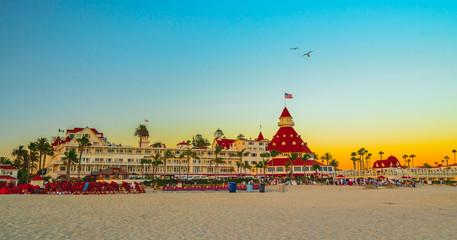 Hotel del Coronado and Coronado beach at sunset. San Diego, California