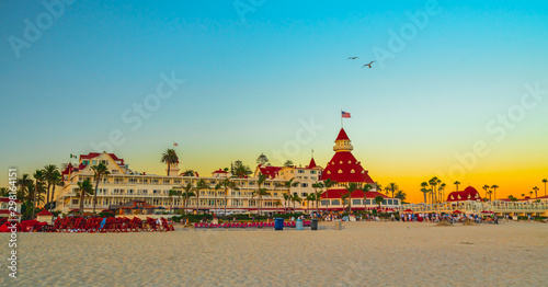 Hotel del Coronado and Coronado beach at sunset Wallpaper Mural