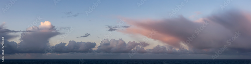 Fototapety, obrazy: Dramatic Panoramic View of a cloudscape during a dark, rainy and colorful sunrise. Taken over the Pacific Ocean in Alaska, USA.