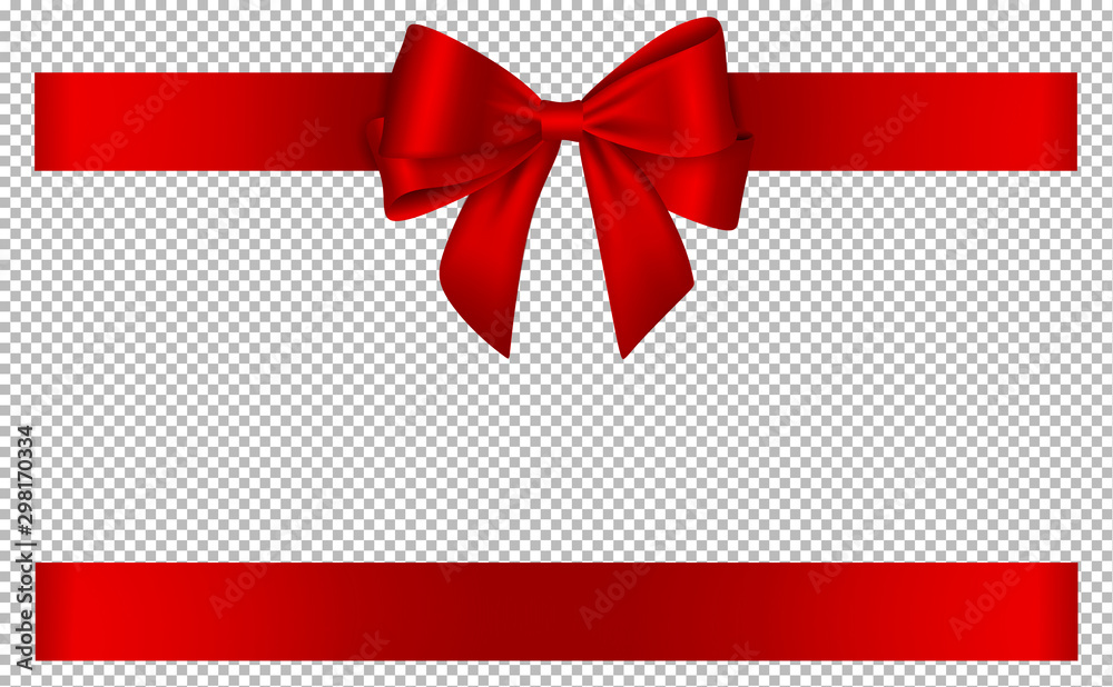 Fototapeta red bow and ribbon for christmas and birthday decorations