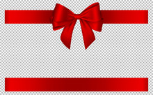 Red Bow And Ribbon For Christmas And Birthday Decorations