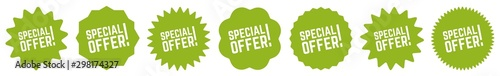 Fotomural  Special Offer Tag Green Eco | Sale Icon | Sticker | Deal Label | Variations