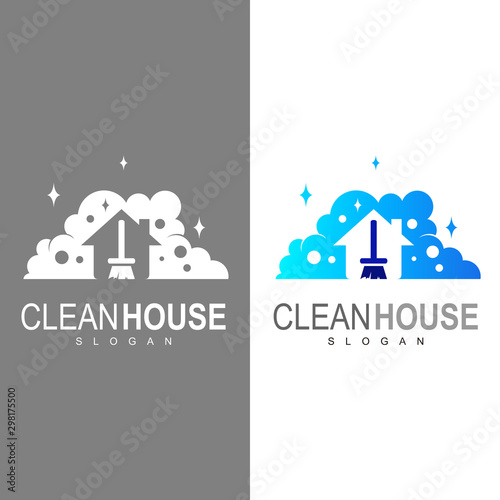 Fotografering  House Cleaning logo designs concept, Cleaning House logo template vector