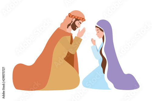 Fototapeta saint joseph and mary virgin manger characters
