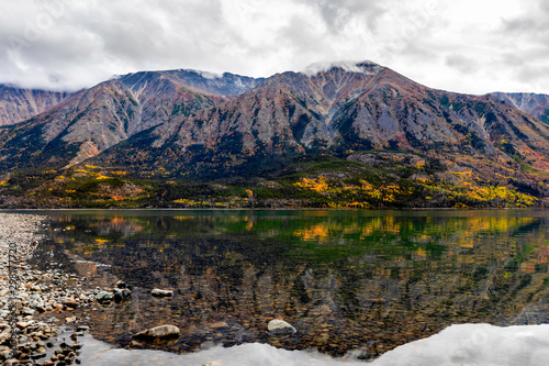 Aluminium Prints Salmon Fall in Mountains, Forest, Lakes with Clouds