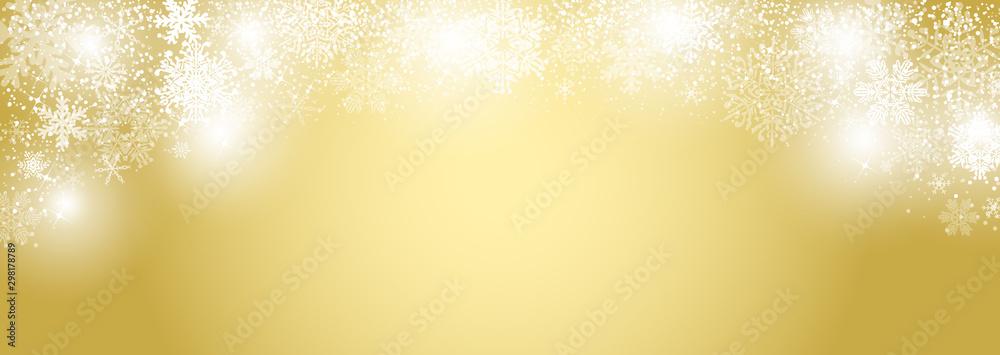 Fototapety, obrazy: 雪の結晶 ゴールド背景