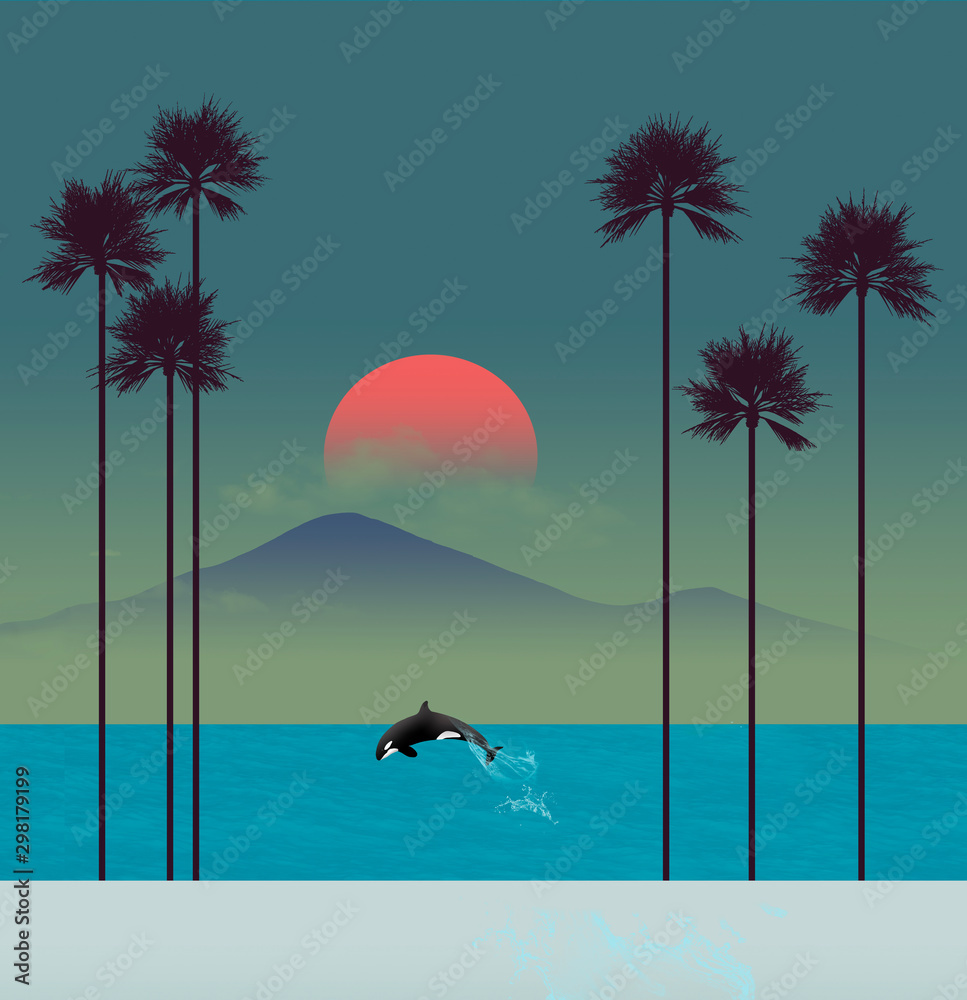 Fototapety, obrazy: A tropical beach scene at sunset features palm trees and a leaping orca (killer whale).