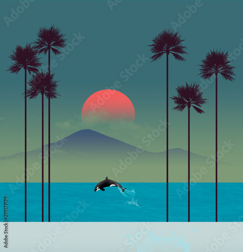 A tropical beach scene at sunset features palm trees and a leaping orca (killer whale). - 298179199