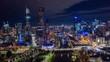 Aerial hyperlapse of night Melbourne CBD at Flinders Street in Melbourne along with Yarra River, Australia