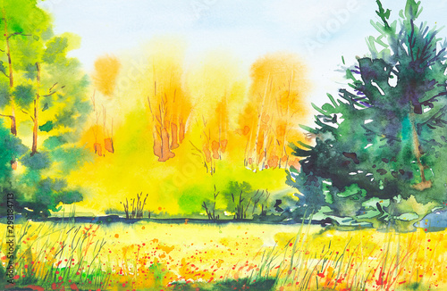 Poster Jaune Watercolor illustration of a beautiful bright fall forest landscape