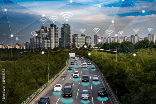 Obraz na plátne Smart car, Autonomous self-driving mode vehicle on metro city road IoT concept