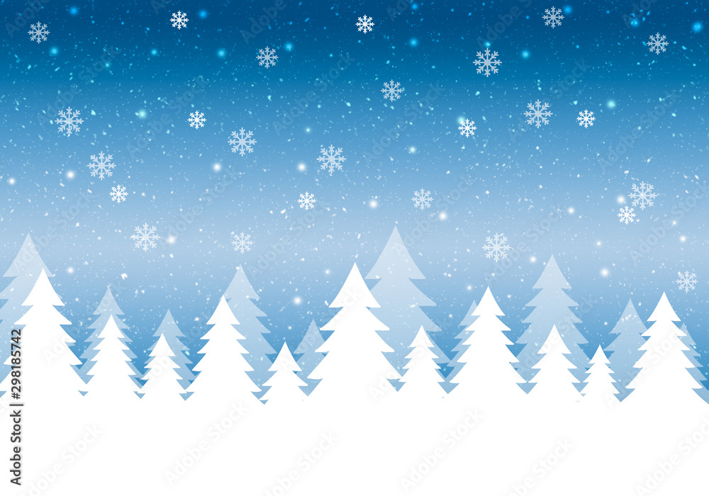 Fototapety, obrazy: Blue winter card with snowflakes.